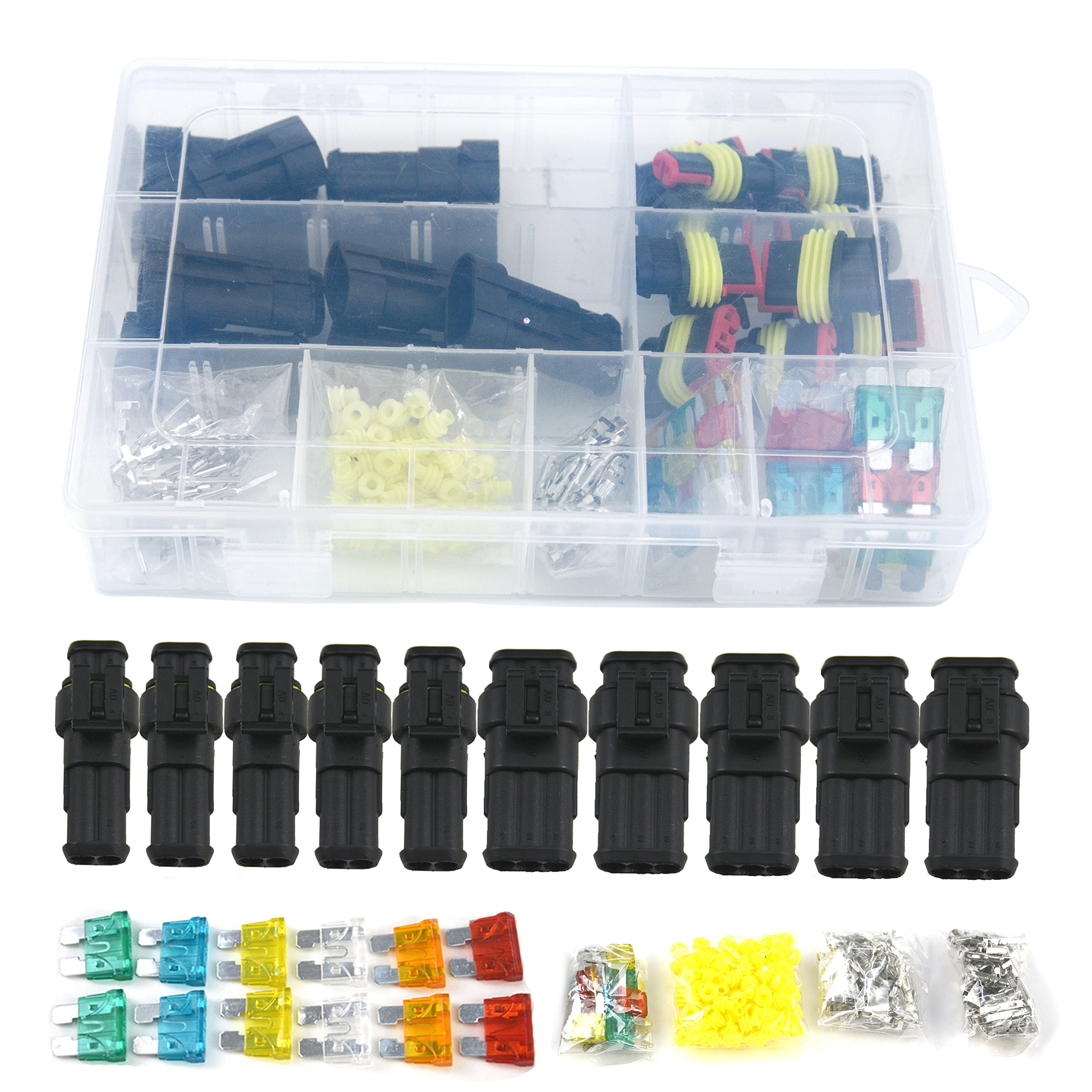 10 Set Waterproof Electrical Connector Plug Terminals Heat Shrink 2/3 Pin Way with Fuses, Clear Box by Qook (Image #2)