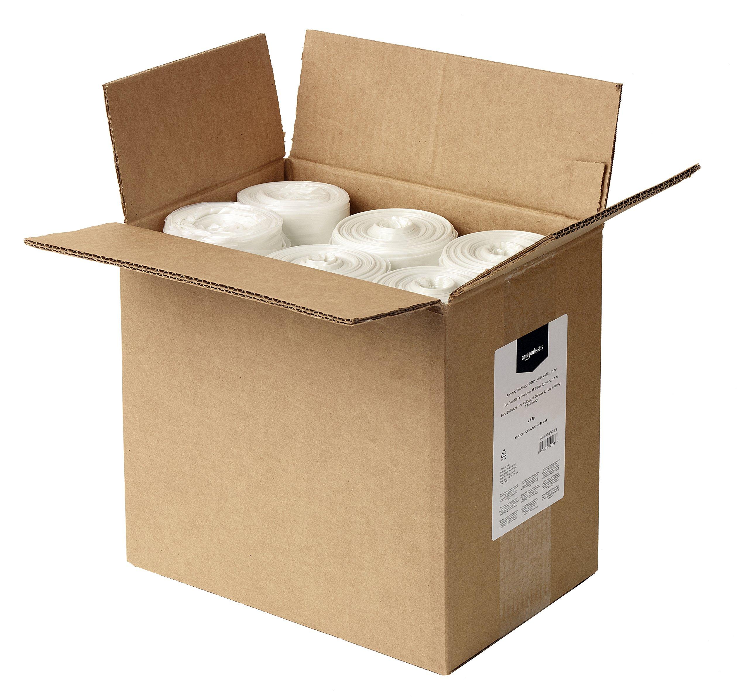 AmazonBasics 45 Gallon Recycling Trash Bag, 1.1 mil, Clear, 150-Count by AmazonBasics (Image #3)