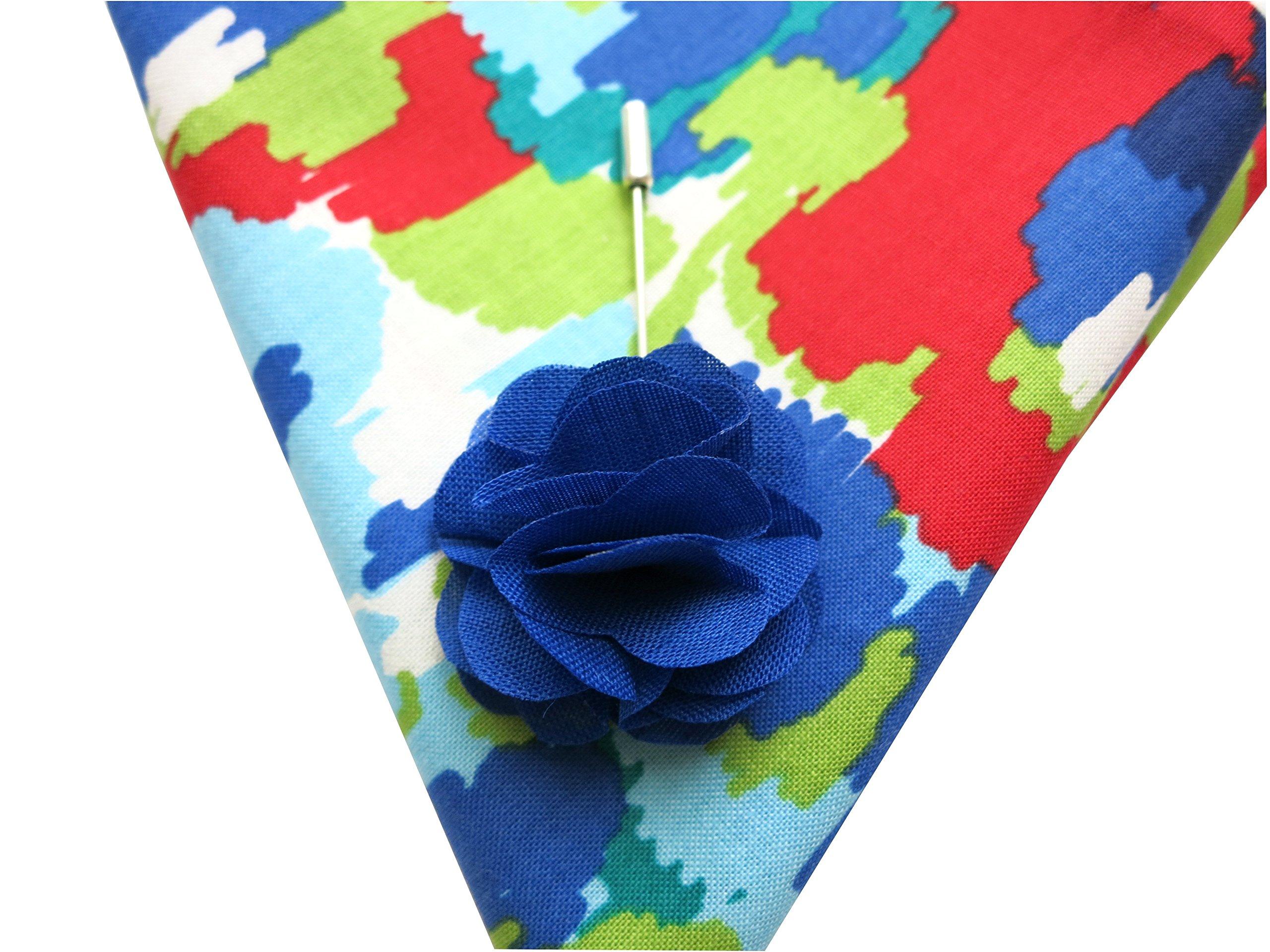 Hand Stitched Hem Cotton Pocket Square KL Paint + Lapel Flower Pin Set (Blue flower)