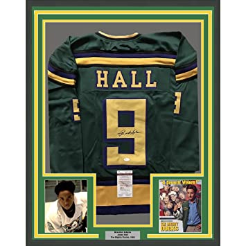 Image Unavailable. Image not available for. Color  Framed  Autographed Signed Brandon Adams Jesse Hall 33x42 The Mighty Ducks Green  Hockey Jersey JSA 213ac5ed9