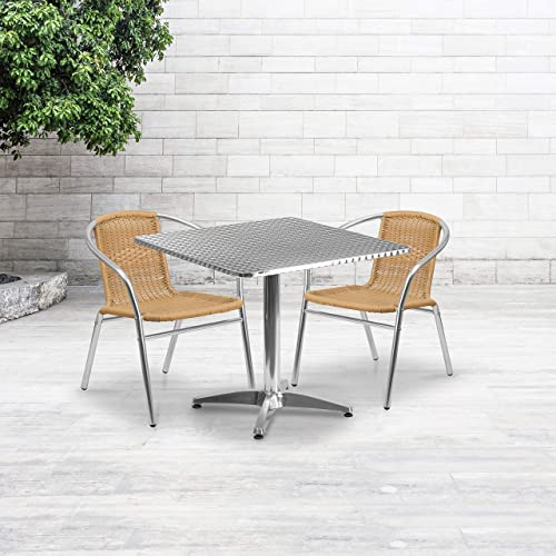 Flash Furniture 31.5 Square Aluminum Indoor-Outdoor Table Set with 2 Beige Rattan Chairs