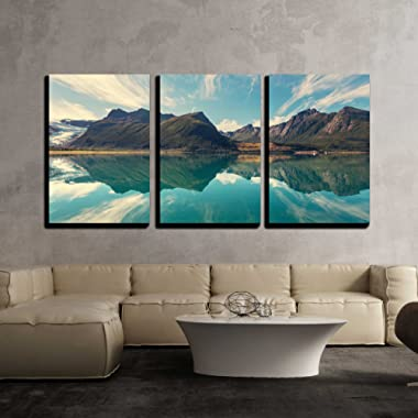 wall26 - 3 Piece Canvas Wall Art - Svartisen Glacier in Norway - Modern Home Decor Stretched and Framed Ready to Hang - 24 x36 x3 Panels