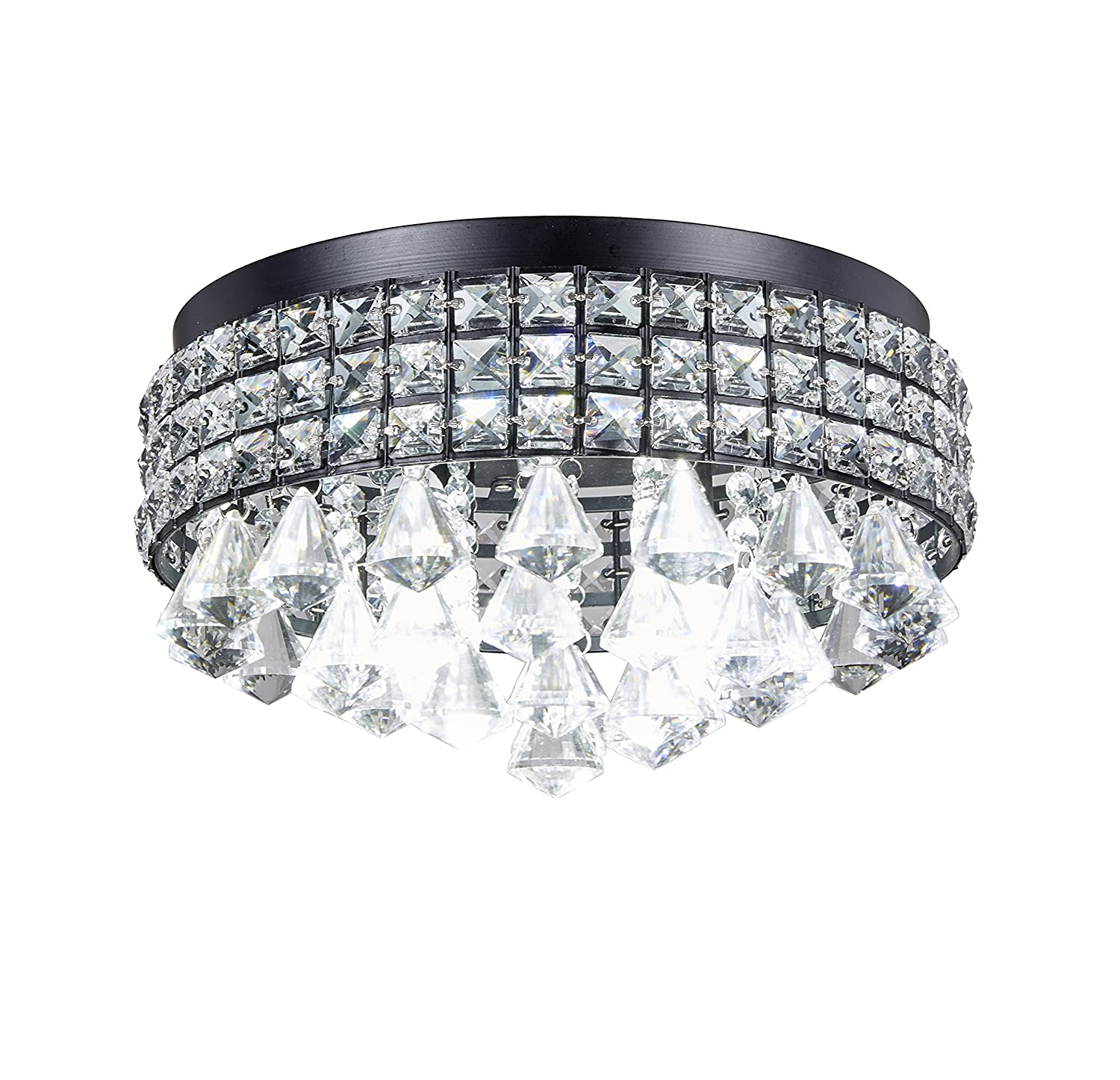 New Galaxy Lighting 4-Light Antique Black Metal Shade Flushmount Crystal Chandelier Ceiling Fixture