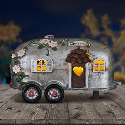 "Exhart Fairy Camping Trailer Statue w/Solar Accent Lights - Mini Silver Camper Trailer Resin Statue – Ideal Garden Décor for Camping Fairy Park, Campground, Trailer Park and More 5"" L x 10"" W x 6"" H : Garden & Outdoor"