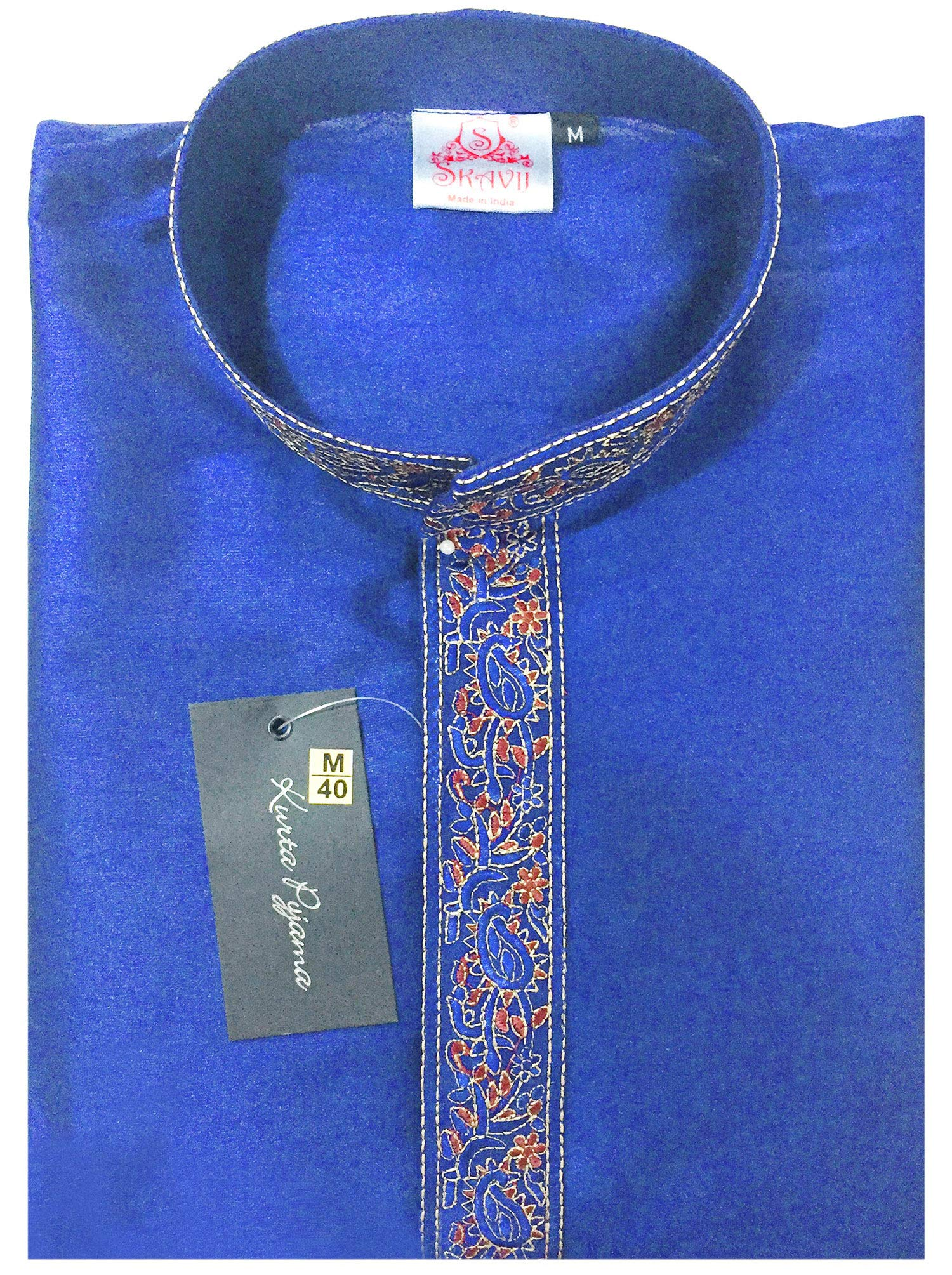 Indian Long Sleeve Kurta Pajama Dress Men Salwar Kameez Party and Wedding Wear -XL by SKAVIJ (Image #6)