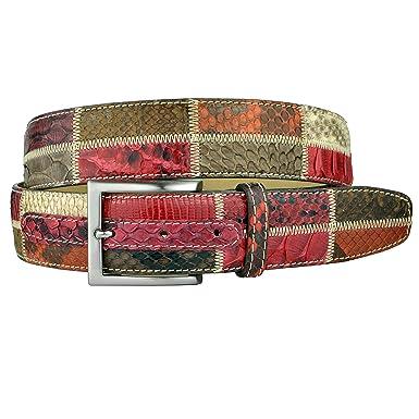 BRUCLE ceinture en cuir véritable Python, Patchwork, rouge  Amazon ... 494b88970a2