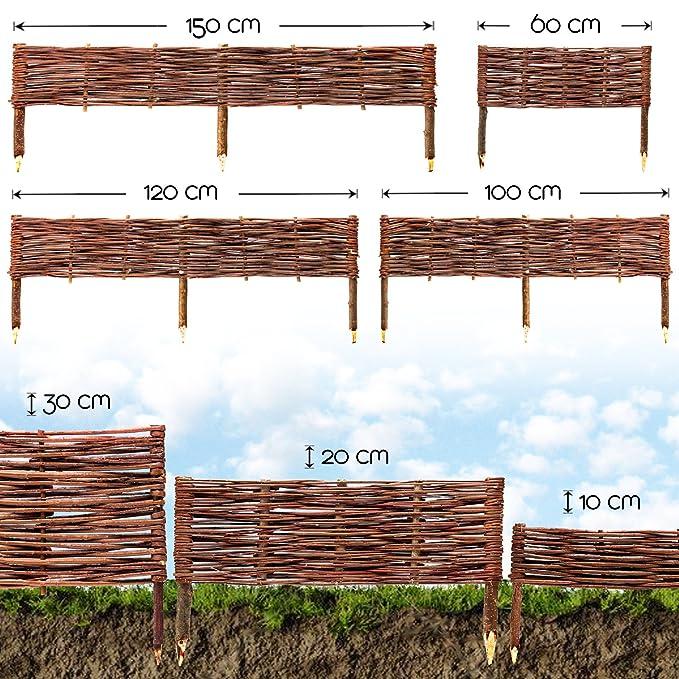 imprägniert Buchepflöcke Zaun 10 x Floranica® Beeteinfassung Steckzaun in 25 Gr