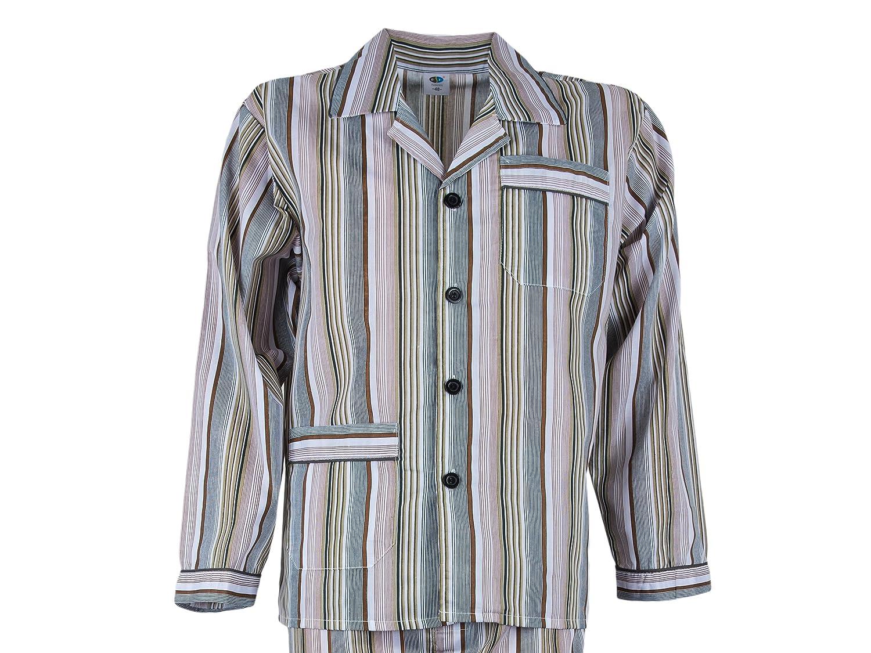 Gr. 48 bis Gr. 60 3 Farben Lang und Kurz SOUNON/® Herren Batist Pyjama gestreift