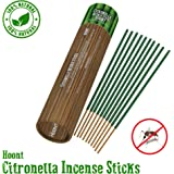 "Hoont Citronella Incense Sticks - Long Lasting 11"" Natural Mosquito Repellent – Highly Concentrated Formula and Extremely Effective (Pack of 12)"