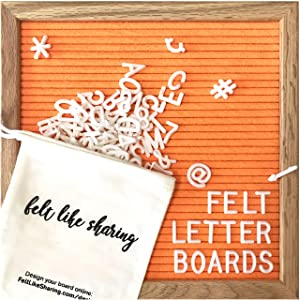 Vivid Orange Felt Letter Board 10x10 Inches. Changeable Letter Boards Include 300 White Plastic Letters and Oak Frame.