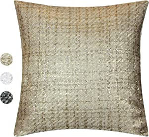 Tweed Decorative Pillow Cover – Throw Pillow Cover with Gold Metallic Finish in Ivory, Mocha & Black – Cottage Home Décor Pillow Case – 18 x 18 Inch Farmhouse Rustic Cushion Cover, Mocha / Gold