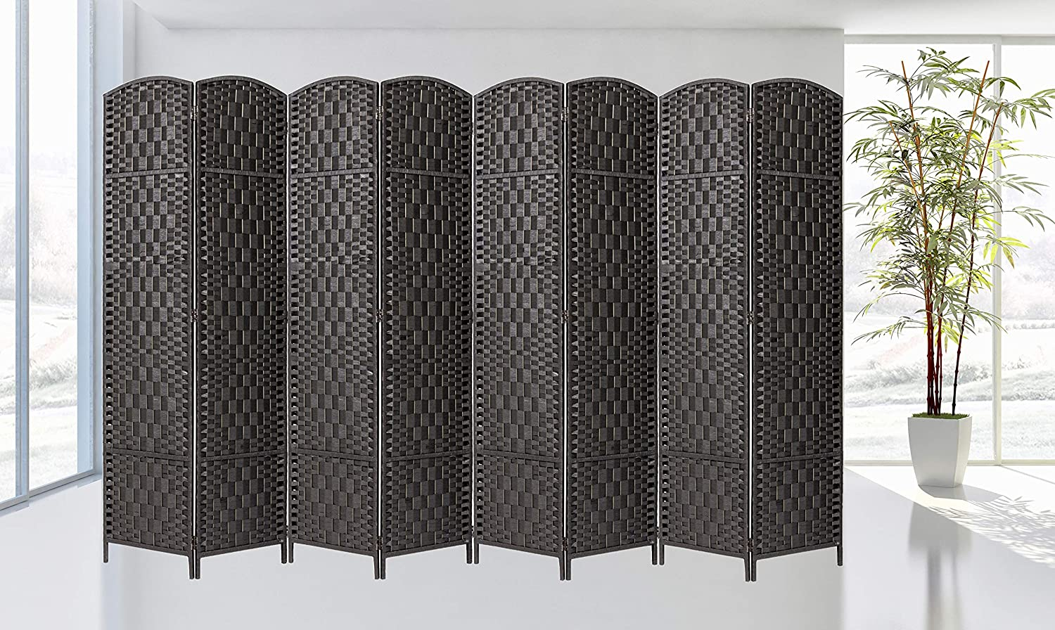 Legacy Decor Room Divider 8 Panels Diamond Weave Bamboo Fiber Privacy Partition Screen, Black Color
