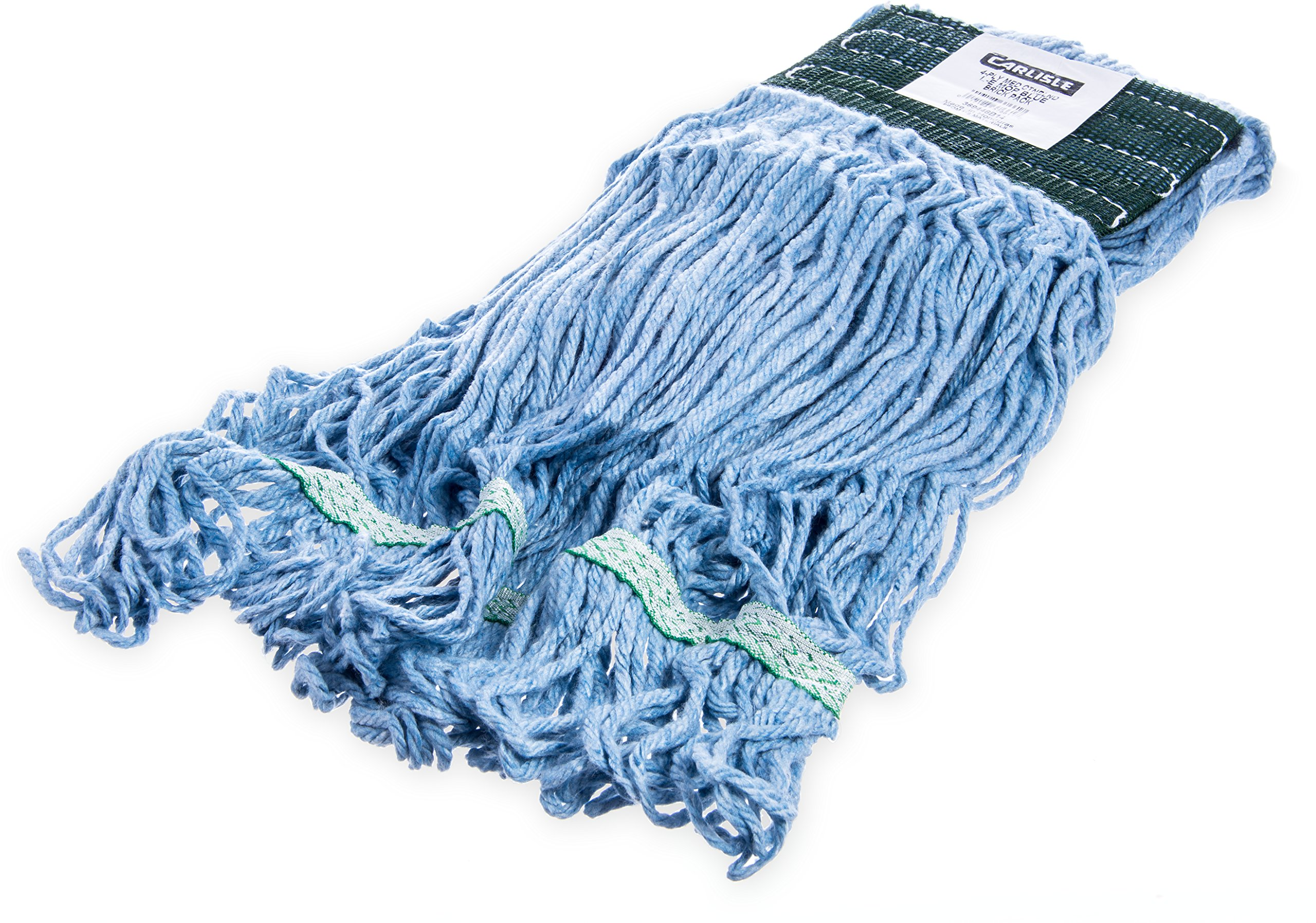 Carlisle 369448B14  Looped-End Mop with Green Band, 12'' H, 5'' W, 18'' L, Cotton Blend, Medium, Blue (Pack of 12)