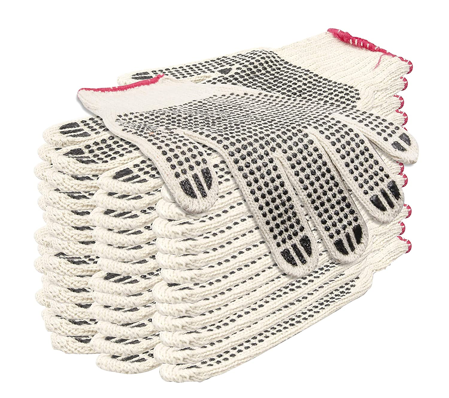 12 Pack PVC Single Side Dot String gloves for Men. Protective String Knit Gloves with Plastic Dot Coating. Medium Weight Gloves. Knitted Cotton Polyester Gloves for General Purpose. Comfortable fit.