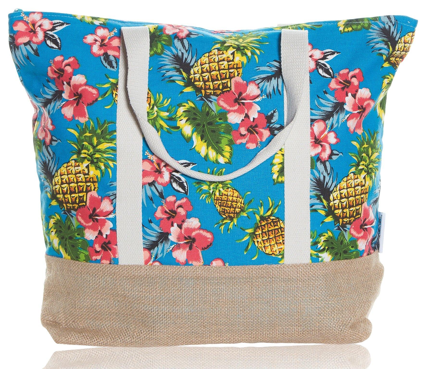 """Beach Bag By Pier 17 - Tote Bag For The Beach, Roomy 20''x18''x6"""", Zipper Closure (Pineaple 2)"""