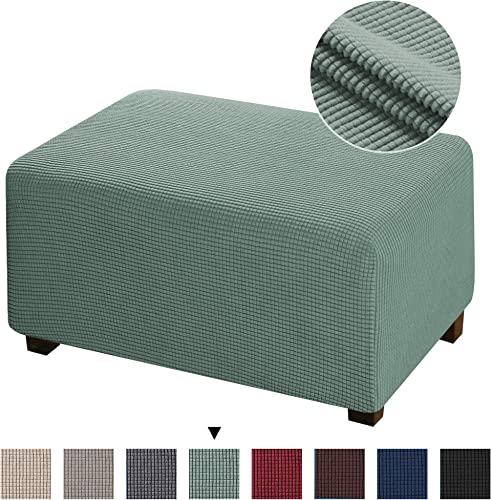 1 Piece Stretch Ottoman Cover Ottoman Slipcovers with Elastic Bottom Jacquard Polyester Stretch Ottoman Cover for Living Room Rectangle Folding Storage Covers Oversized Ottoman, Sage