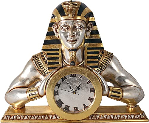 Design Toscano Temple of Heliopolis Egyptian Pharaoh Desk Mantel Clock Statue, 26 Inch, Gold and Silver Leaf