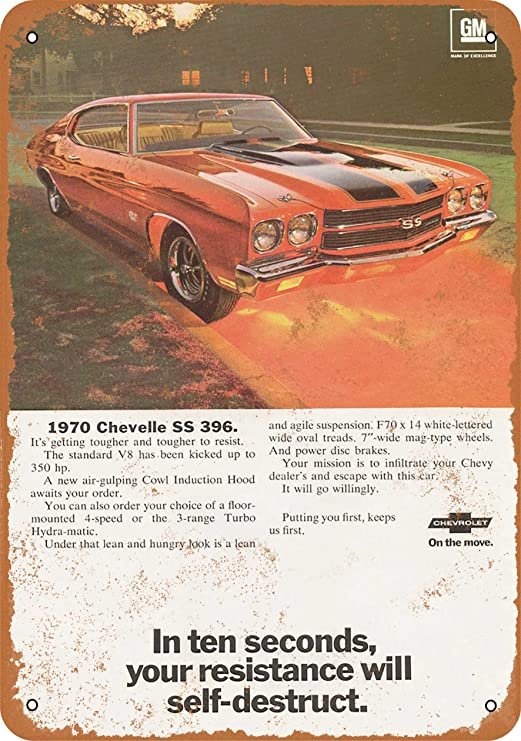 Tin Sign Vintage Chevelle SS With Model Pin Up Girl