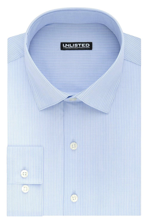 Kenneth Cole REACTION Mens Unlisted Slim Fit Stripe Spread Collar Dress Shirt 32LG053