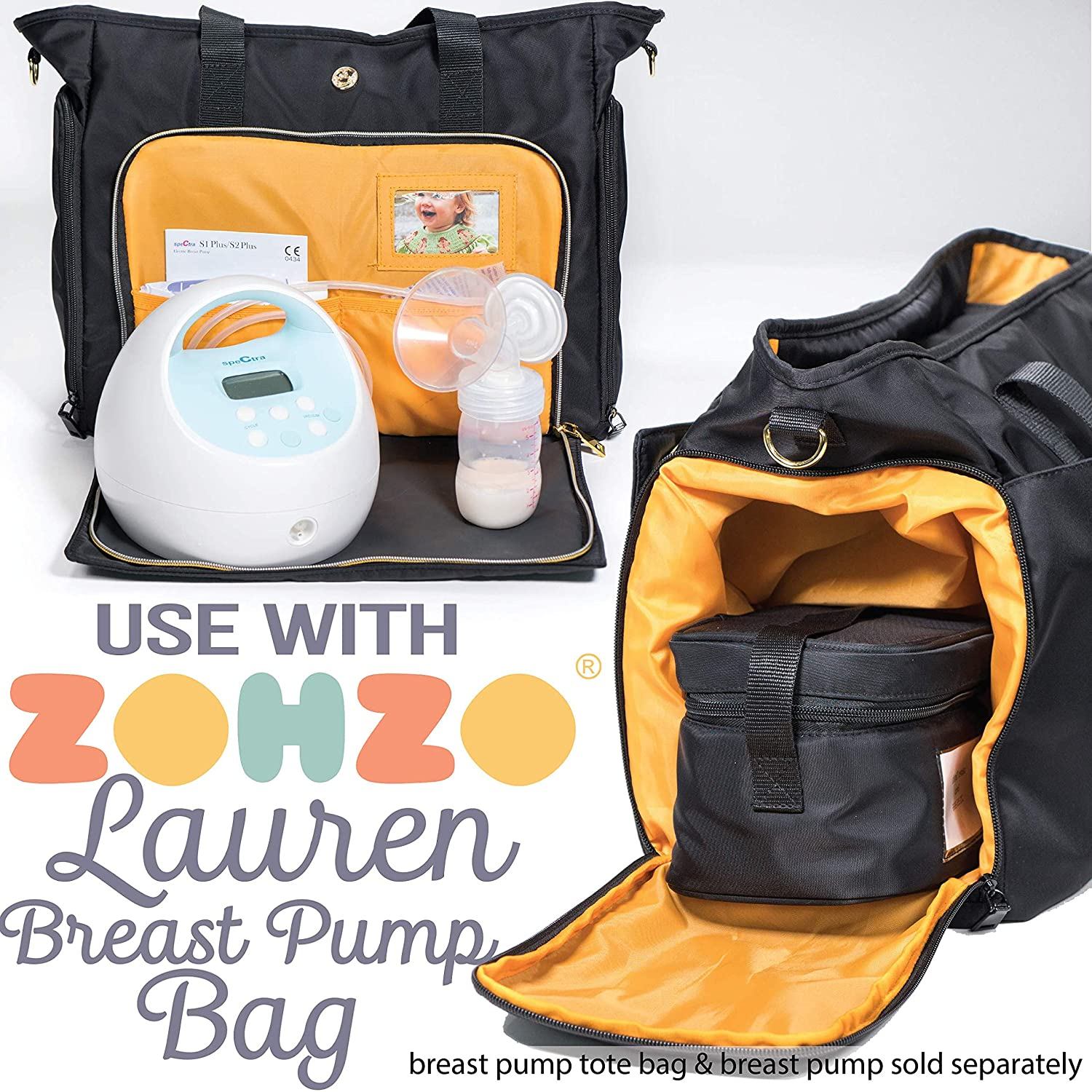 Black Insulated Breast Milk Cooler with Accompanying Wet//Dry Bag Zohzo Breastmilk Compact Cooler Bag with Ice Pack