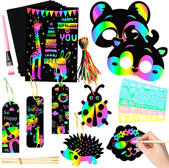 WATINC 60Pcs Welcome Back to School Scratch Bookmark Classroom Decoration School Supplies Game for Boys Girls Magic Art Rainbow Color DIY Craft Kit for Kids First Day of School Birthday Party Favor