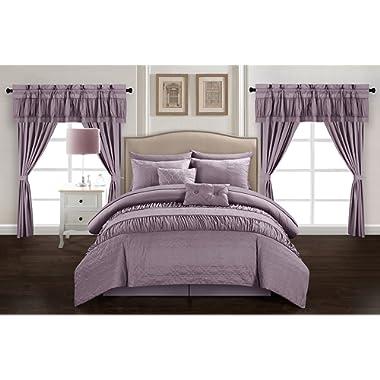 Chic Home Mykonos 20 Piece Comforter Set, Queen, Plum