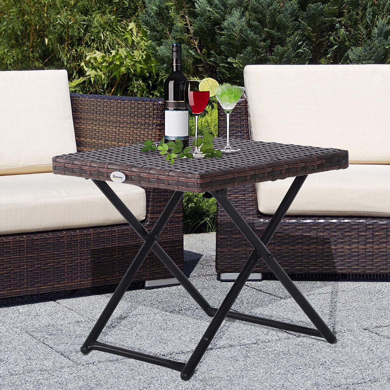 Outsunny Garden Small Folding Rattan Coffee Table Bistro Balcony Outdoor Wicker Brown