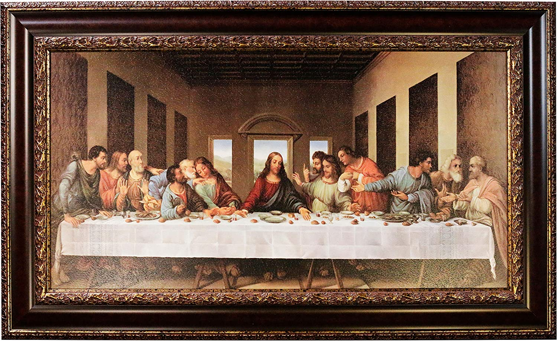 Mom's Art Studio - Last Supper Wall Decor 46.5 X 28 Inches, Leonardo Da Vinci Reproductions, Museum Look Art Framed, Artist's Acrylic Coating, Wall Art for Home Decor (Brown Gold, Classic 46.5 X 28)