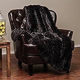 """Chanasya Super Soft Long Shaggy Chic Fuzzy Fur Faux Fur Warm Elegant Cozy With Fluffy Sherpa Black Microfiber Throw Blanket (50"""" x 65"""") - Solid Shaggy Black"""