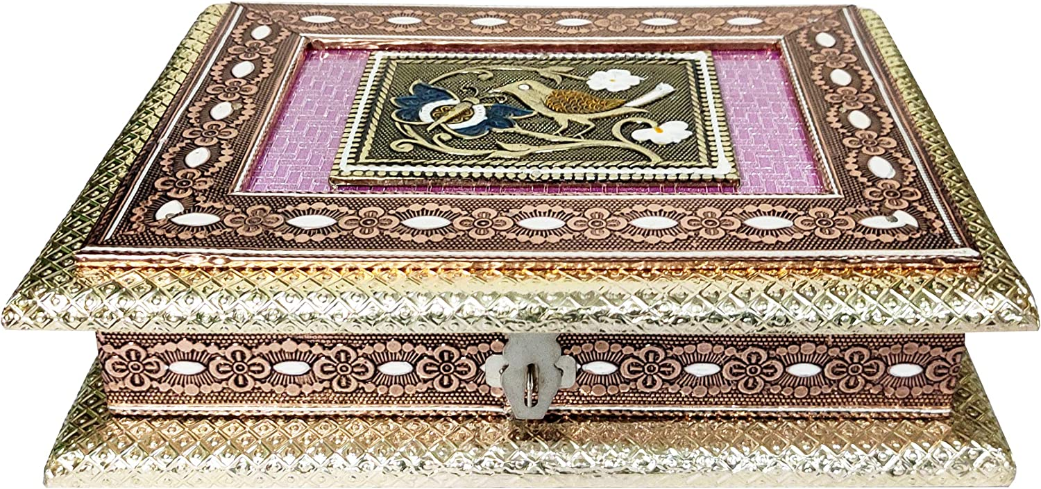 Purpledip Wooden Meenakari Box 'Garden Whispers': Oxidized Metal Sheet Designer Chest (12207)