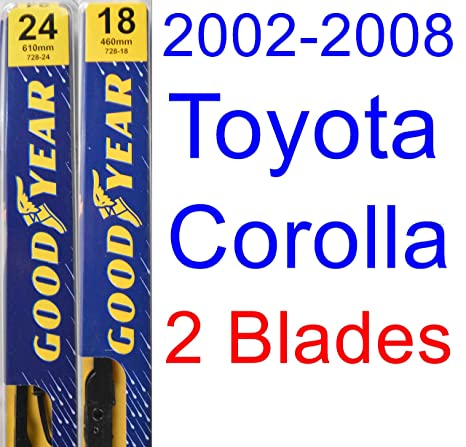 Amazon.com: 2002-2008 Toyota Corolla CE Replacement Wiper Blade Set/Kit (Set of 2 Blades) (Goodyear Wiper Blades-Premium) (2003,2004,2005,2006,2007): ...
