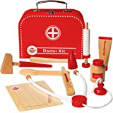 Wooden Doctor Kit for Kids, Pretend Doctor Kit for Kids, Medical Kit for Toddler, Pretend and Play Tools by Dragon Drew (10 PC Set)
