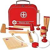 Wooden Doctors Kit Playset Children's Pretend Play By Dragon Drew (10 PC Set)