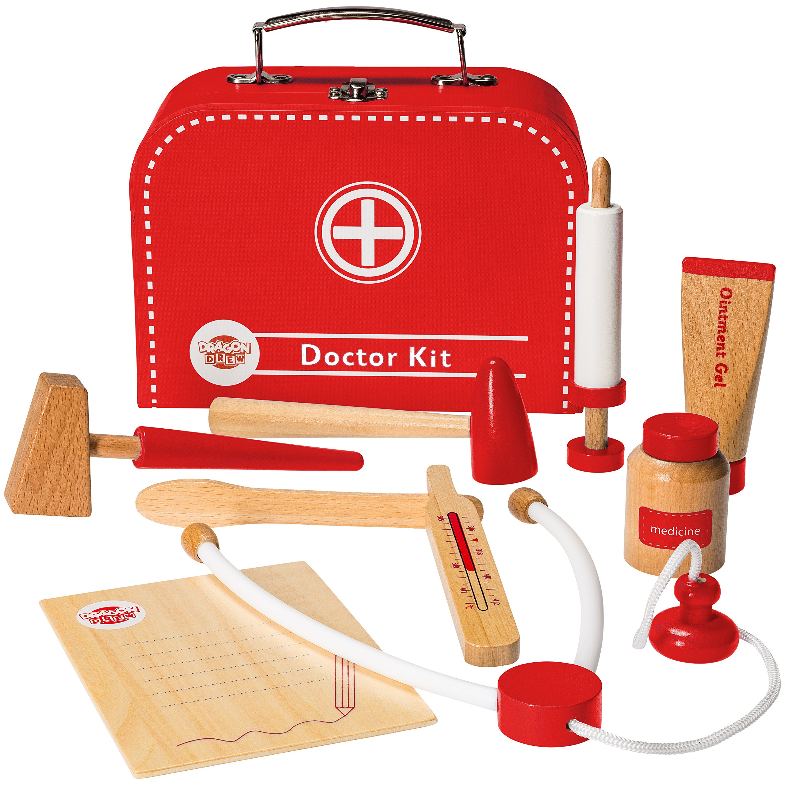 Dragon Drew Wooden Doctor Kit for Kids, Pretend Doctor Kit for Kids, Medical Kit for Toddler, Pretend and Play Tools (10 PC Set) by Dragon Drew