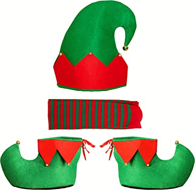 New 1 Set Decor Clothes Cosplay Costume Set Green Elf Family Party Cute Gift