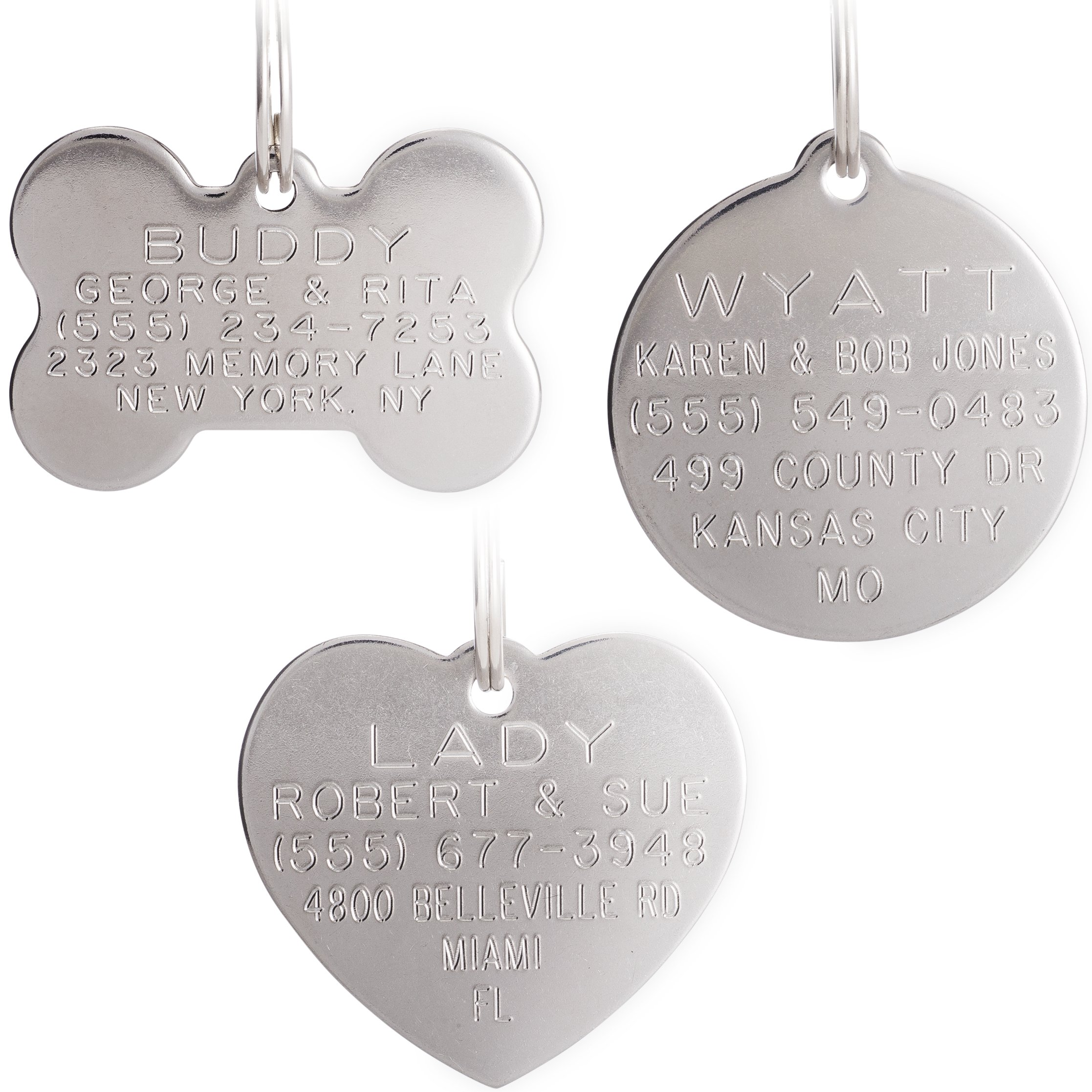 Leashboss Stainless Steel Pet ID Tags - Deep Engraved No Fade - Bone, Round, or Heart - 4 Sizes, X-Small to Large Available - Customized Identification for Dogs and Cats (Bone, Large (Big Breed Dogs))