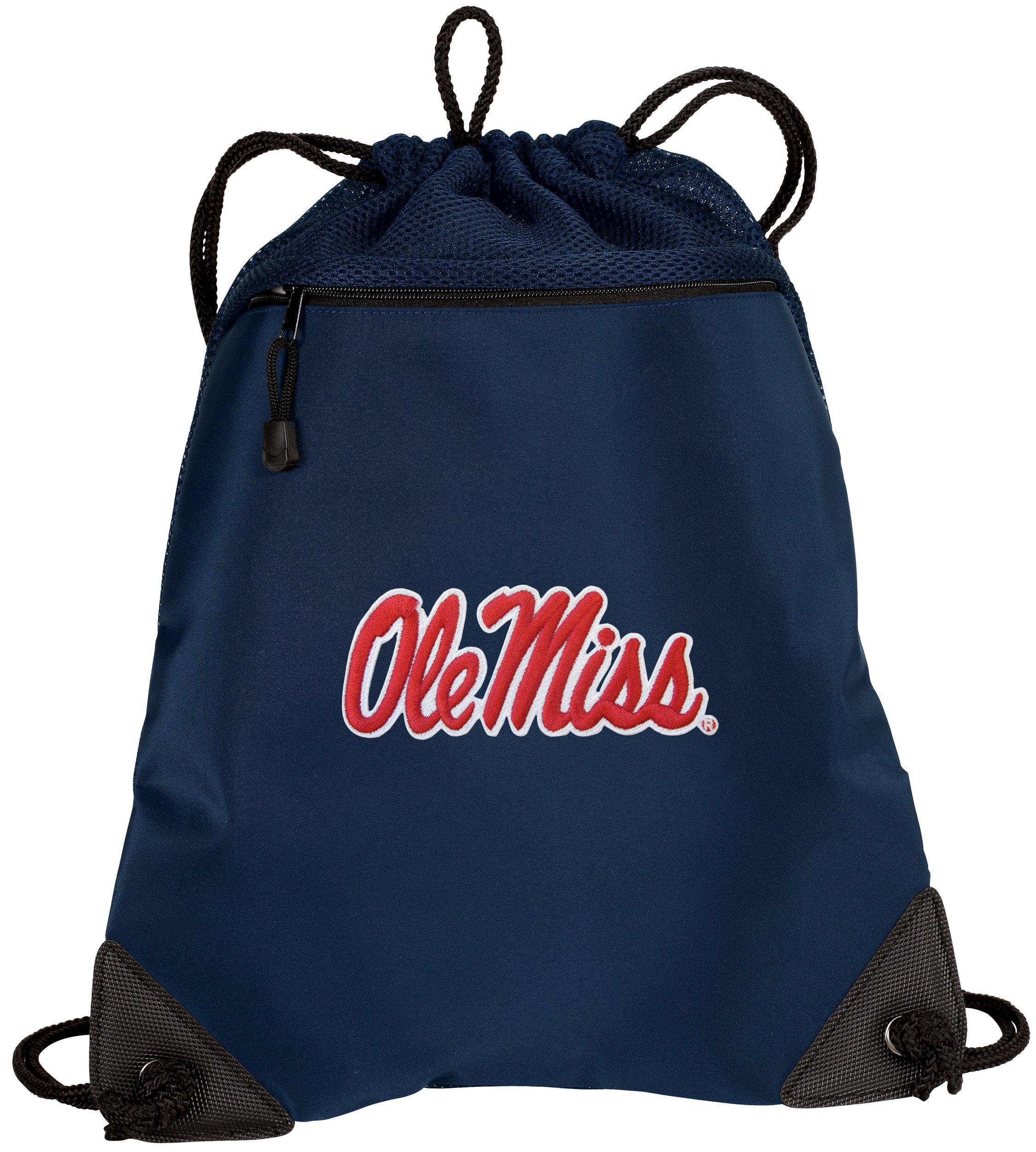 Broad Bay University of Mississippi Drawstring Backpack Ole Miss Cinch Bag - UNIQUE MESH & MICROFIBER