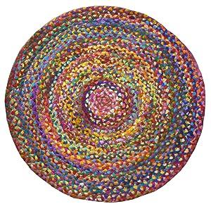Tapis en coton recyclé issu du commerce équitable., Tissu, multicolore, 120 x 120