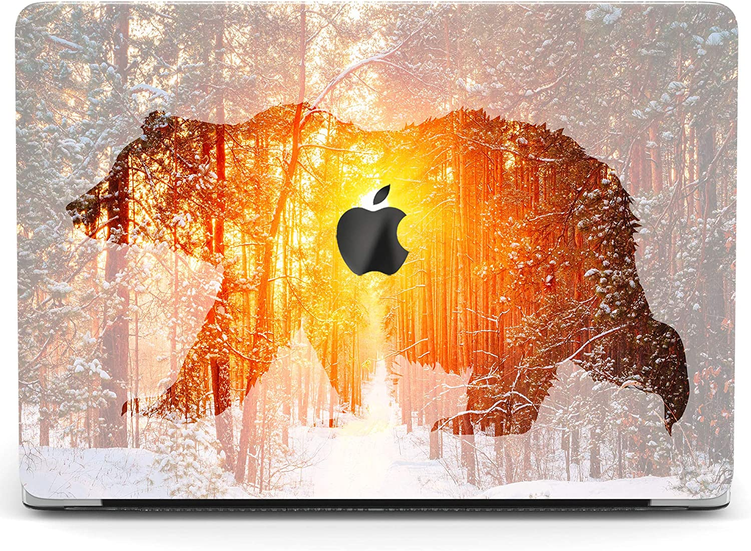 Wonder Wild Case for MacBook Air 13 inch Pro 15 2019 2018 Retina 12 11 Apple Hard Mac Protective Cover Touch Bar 2017 2016 2020 Plastic Laptop Print Bear Silhouette Nature Sunset Animal Winter Forest