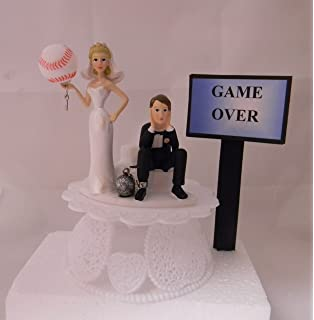 Wedding Party Reception Game Over Sign Baseball Ball Chain Cake Topper