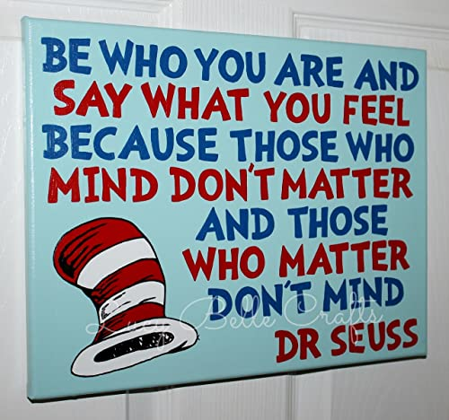 Dr. Seuss Quote 100 Hand Painted onto 11×14 Canvas