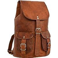 """Gusti Cuir nature """"Gary 13"""""""" sac à dos en cuir backpack bagage à main bagage cabine sac randonnée sac porté épaule homme femme cuir de chèvre marron foncé M31 c"""