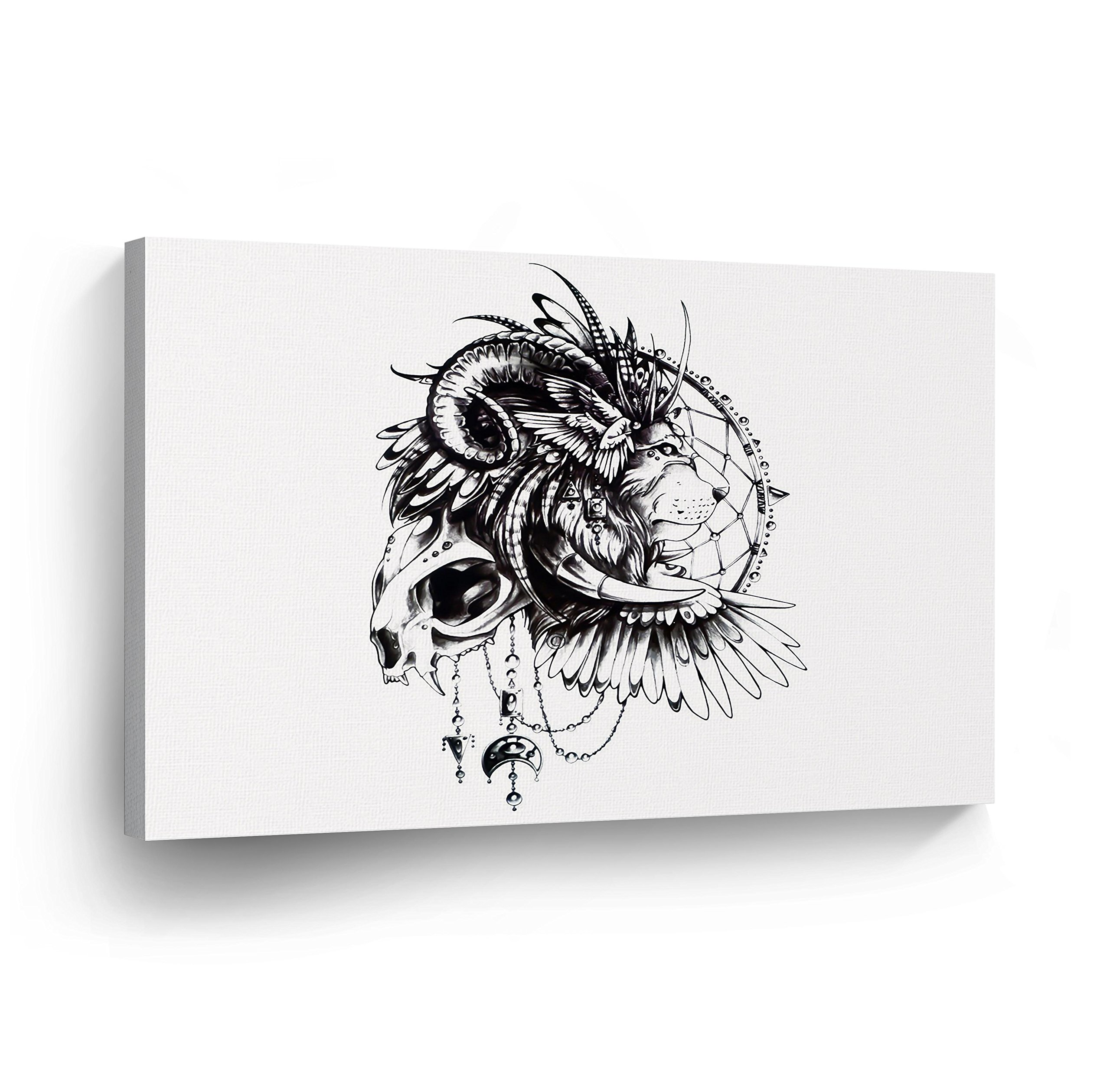 Dream Catcher Black and White Lion and Skull CANVAS PRINT Wall Art Bohemian Decor Boho Home Decor Indian Artwork Gallery Wrapped Wood Stretched Ready to Hang -%100 Handmade in the USA - 15x22
