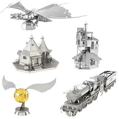 fascinations Metal Earth 3D Metal Model Kits - Harry Potter Set of 5 - The Burrow - Hogwarts Express Train - Hagrid's Hut - Golden Snitch - Gringotts Dragon: Toys & Games