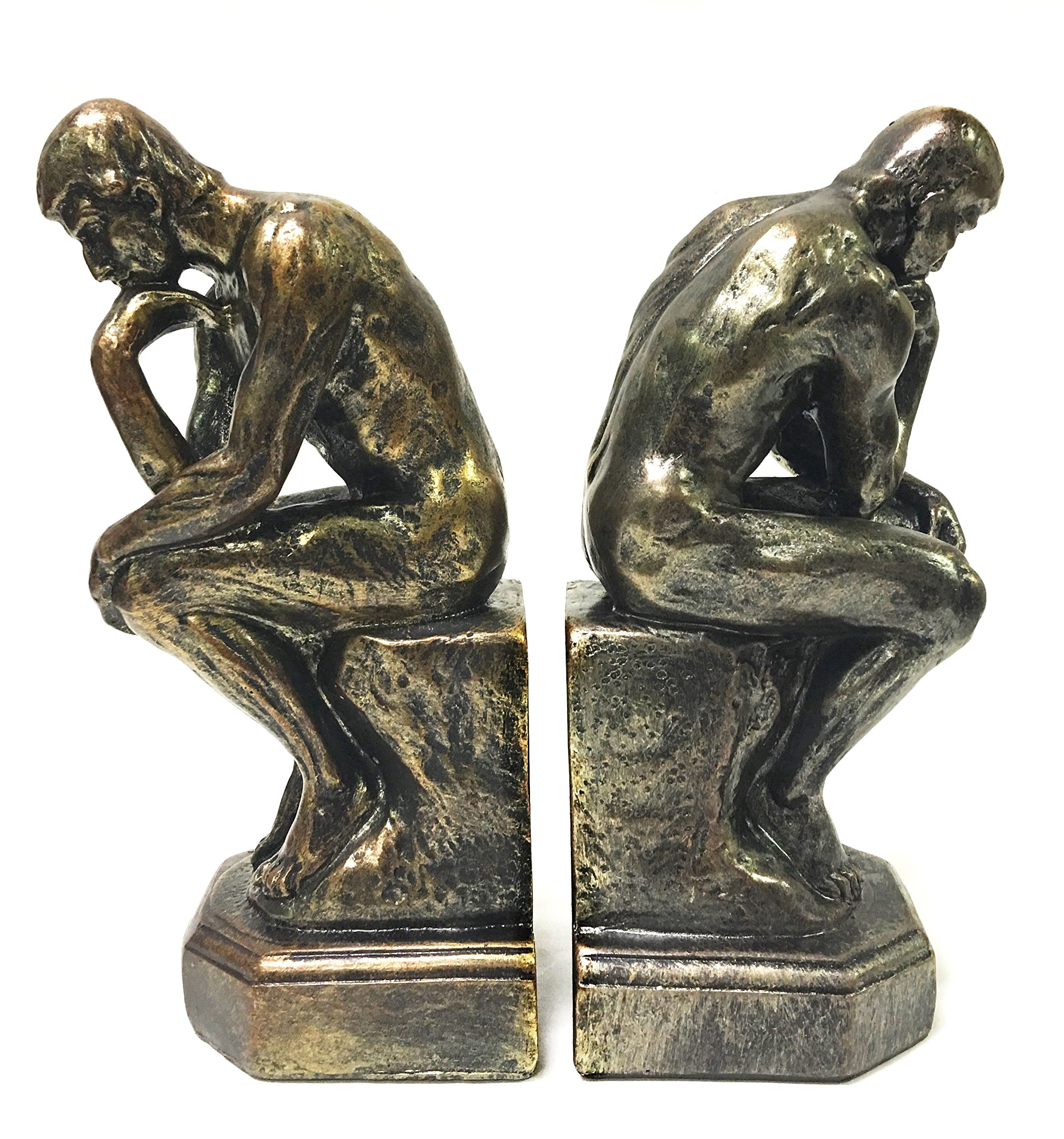 Bellaa 25594 Rodin The Thinker Statue Bookends Auguste Collectible Figurine by Bellaa