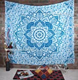 Large Blue Tapestry Bohemian Ombre Mandala Tapestries Hippie Boho Wall Hanging Queen Bedspread Hippy Beach Blanket- Plush Decor