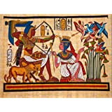 PAINTING ANCIENT EGYPTIAN MURAL PHARAOH QUEEN ARCHERY ARROW BOW 30x40 cms POSTER BMP10852
