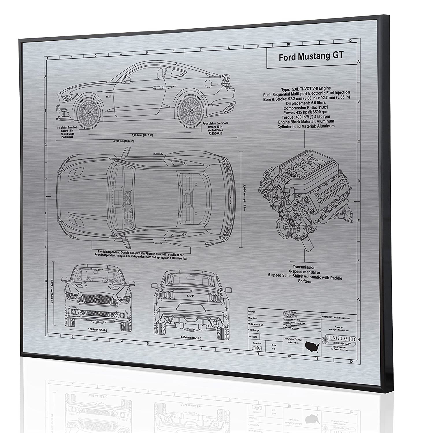 Amazon com ford mustang gt 2015 blueprint artwork laser marked personalized the perfect ford gifts handmade