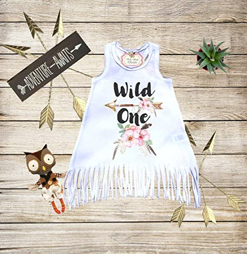 4c60a94c5f67 Amazon.com  Wild One Fringe Dress Boho Dress Baby Boho Clothes First ...