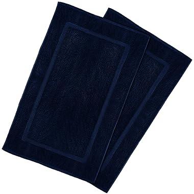 Utopia Luxury 100% Ringspun Cotton Bath Mat, Luxury Size, Maximum Absorbency, Machine Washable, 2-Pack (21  x 34 ) (Navy Blue)